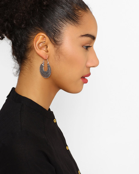 Hoop Earrings With Lever-Back Closure By Fida ( Silver ) - 460081224001