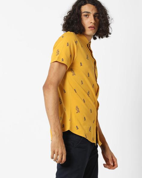 Owl Print Shirt With Spread Collar By AJIO ( Yellow )