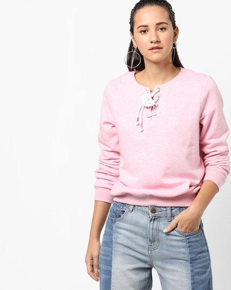 Full Sleeve Sweatshirt With Tie-Up By Femella ( Pink )