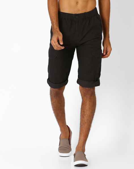 Regular Fit Roll-Tab Capris With Flap Pockets By TEAM SPIRIT ( Charcoal )