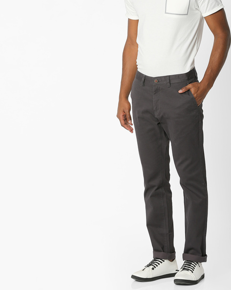 Tapered Fit Textured Chinos By NETPLAY ( Medgrey )