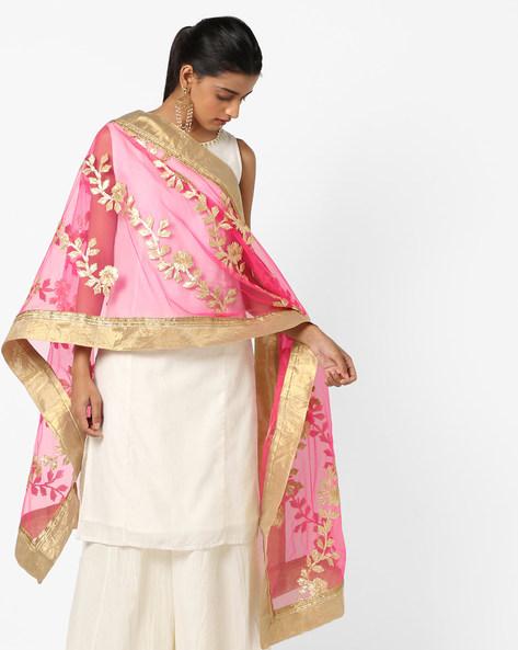 Floral Applique Dupatta With Contrast Borders By Dupatta Bazaar ( Pink )