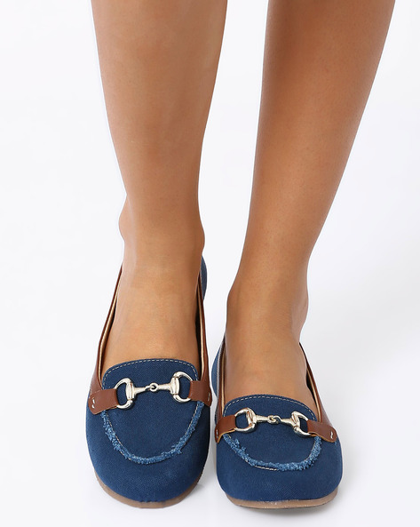 Loafers With Metallic Detail By Carlton London ( Blue )