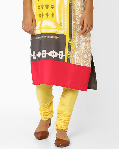Churidar Pants With Drawstrings By AJIO ( Yellow )
