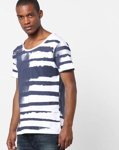 Striped Slim Fit T-shirt By Blue Saint ( Navy )