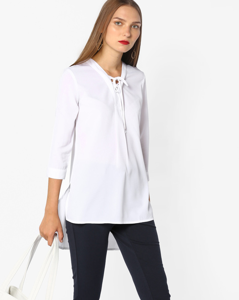 High-Low Top With Tie-Up By AJIO ( White )