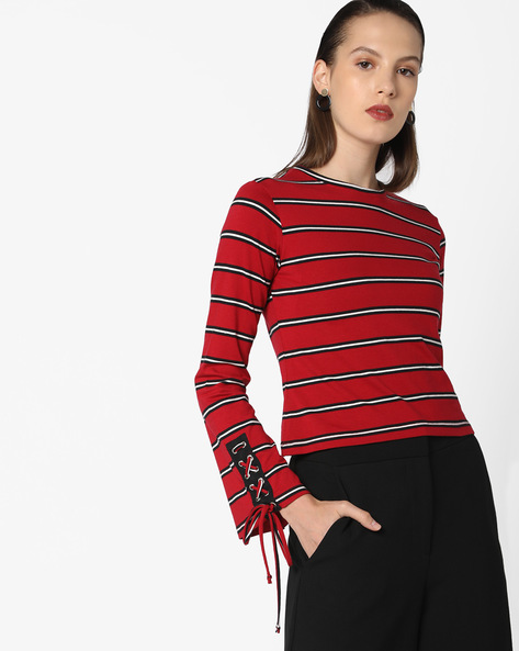 Striped Top With Tie-Up Sleeve Hems By AJIO ( Maroon )