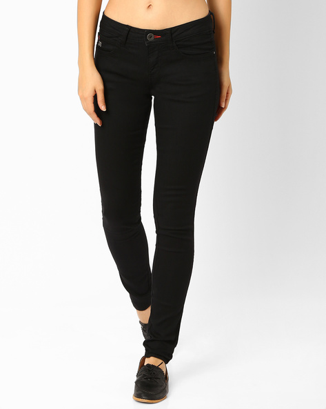 Low-Rise Skinny Jeans By WRANGLER ( Black )