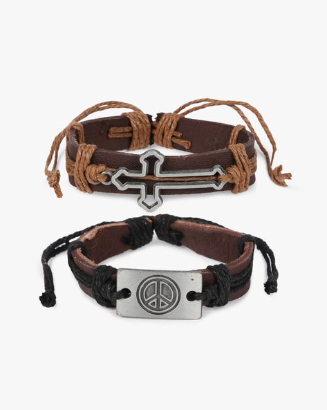 Set Of 2 Bracelets With Metal Accents By ALPHA MAN ( Black )