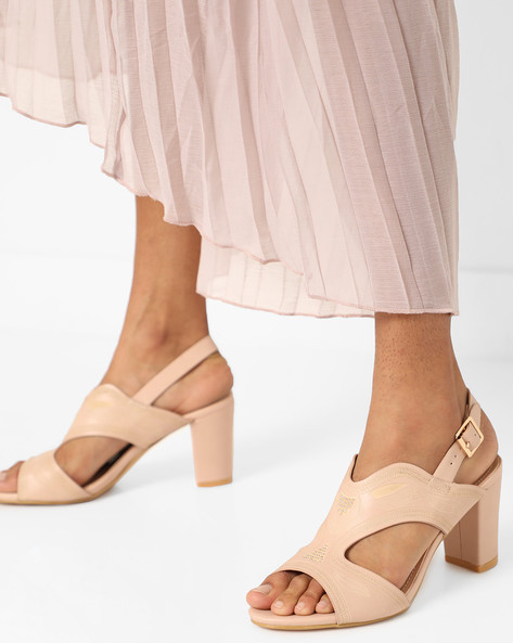 Slingback Block Heels With Embellishments By AJIO ( Nude )