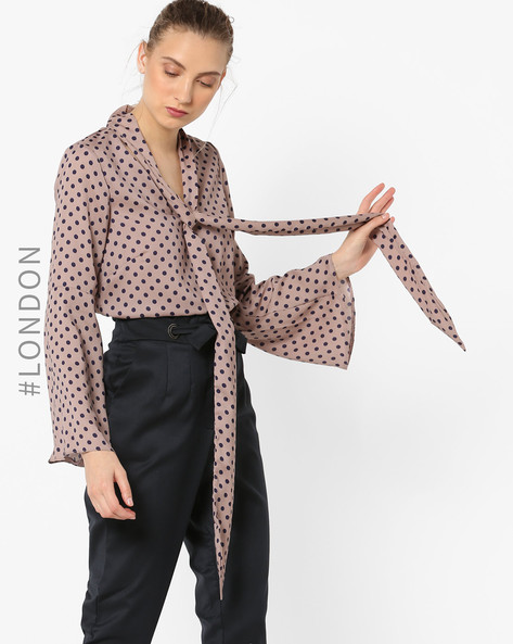 Polka-Dot Print Top With Bell Sleeves By Closet London ( Stone )