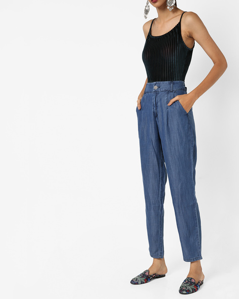 High-Rise Ankle-Length Trousers By UNITED COLORS OF BENETTON ( Blue )