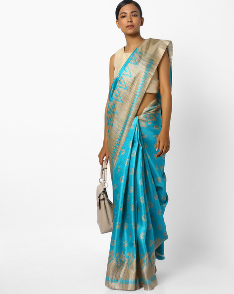 Paisley Print Saree With Contrast Border By CHHABRA 555 ( Blue )