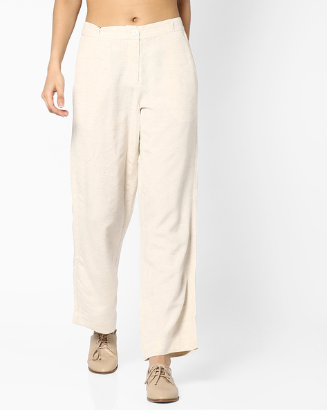 Mid-Rise Linen Trousers By CODE By Lifestyle ( Beige )