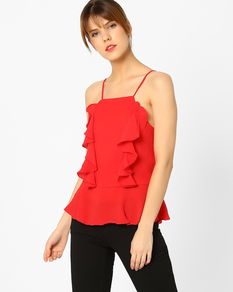 Ruffled Strappy Top By MDS ( Red )