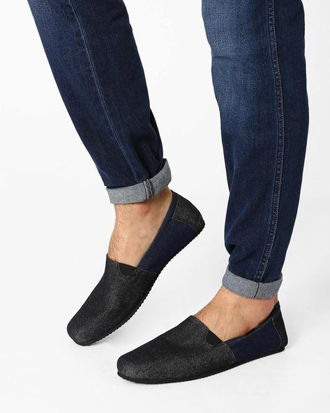 Canvas Slip-On Casual Shoes By Funk ( Black )