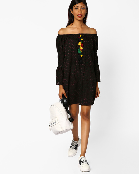 Printed Off-Shoulder Dress With Tassel Tie-Up By AJIO ( Black )