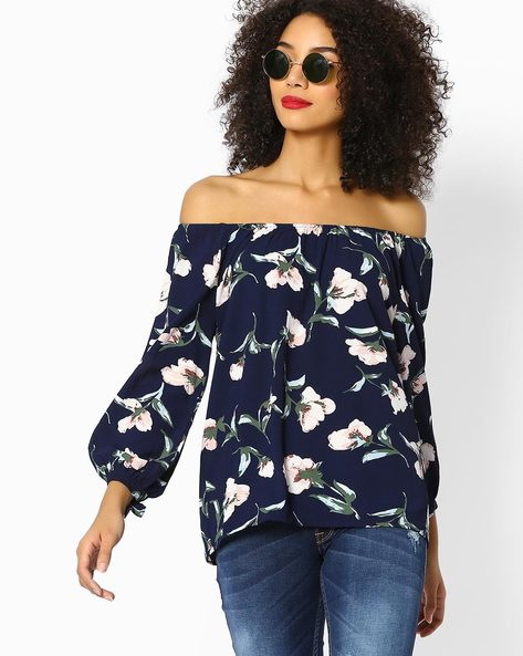Floral Print Top With Off-Shoulder Sleeves By FIG ( Navy )