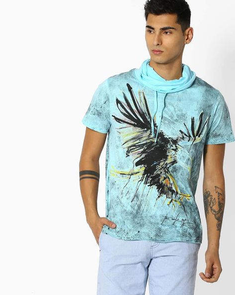 Graphic Print T-shirt With Funnel Neckline By DNMX ( Blue )