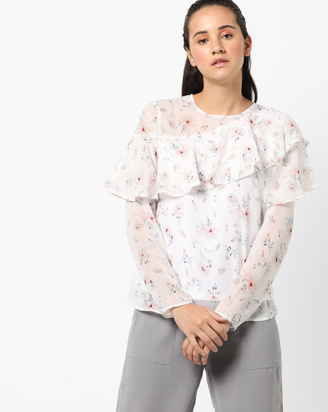 Floral Print Top With Ruffled Panels By Femella ( White )