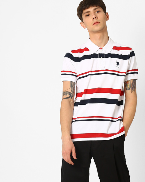 Striped Polo T-shirt By US POLO ( White )
