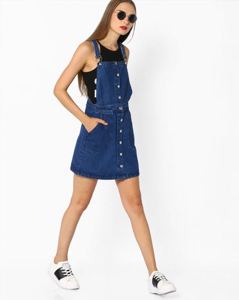 Denim Dungaree Dress By AJIO ( Blue )