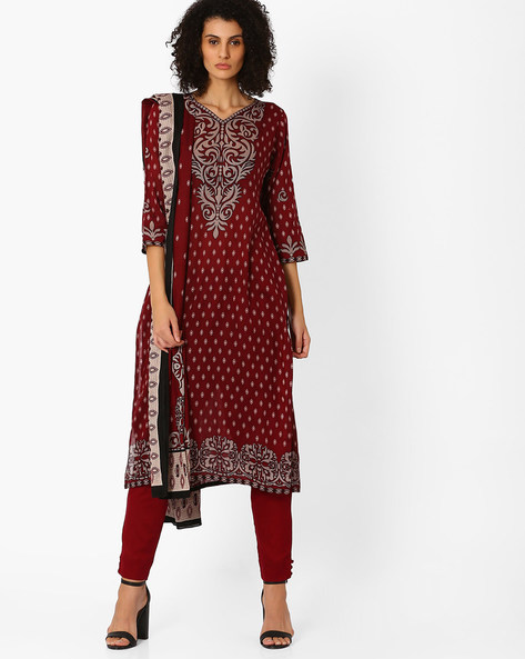 Printed Kurta With Pants And Dupatta By Uptowngaleria ( Maroon )