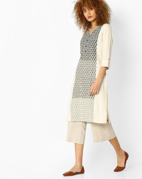 Printed Kurta With Button Detail By AVAASA WORKWEAR ( Offwhite )