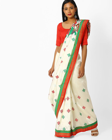 Embroidered Saree With Contrast Border By Majestic Silk ( Red )