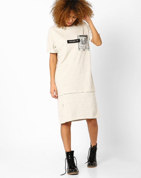 Sweatshirt Dress With Printed Pocket By AJIO ( Ecru )