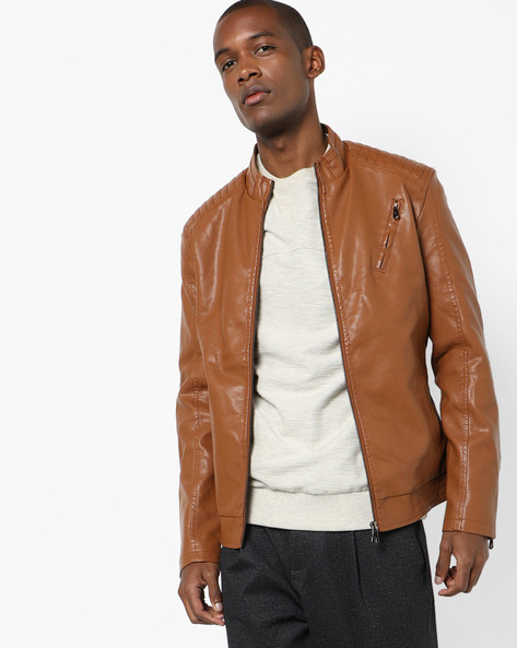 Biker Jacket With Zipper Pocket By The Indian Garage Co ( Yellow )