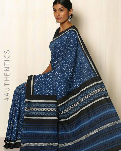 Dabu Handblock Print Indigo Cotton Saree By Indie Picks ( Indigo )