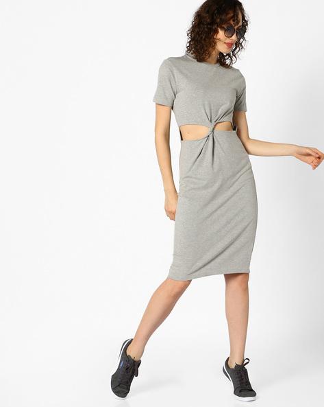 Bodycon Dress With Cut-outs By AJIO ( Greymelange )