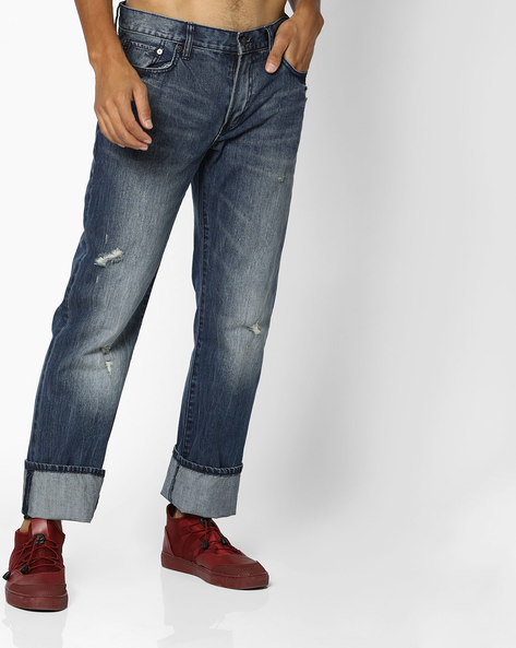 Mid-Rise Distressed Straight Jeans By Aeropostale ( Blue )