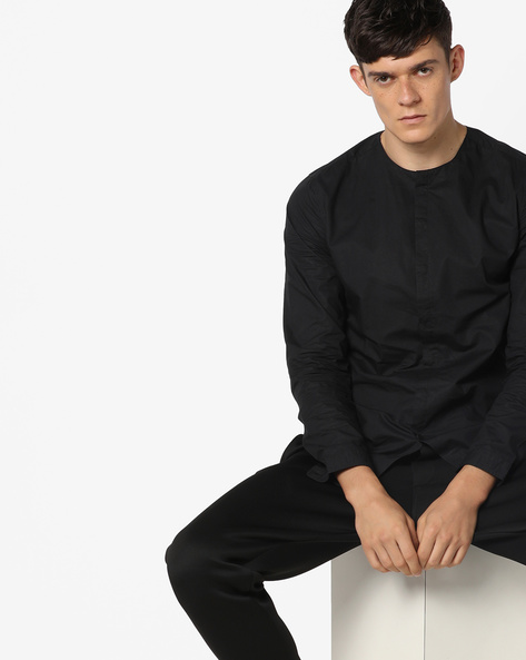 Slim Fit Shirt With Concealed Placket By Jack & Jones ( Black )
