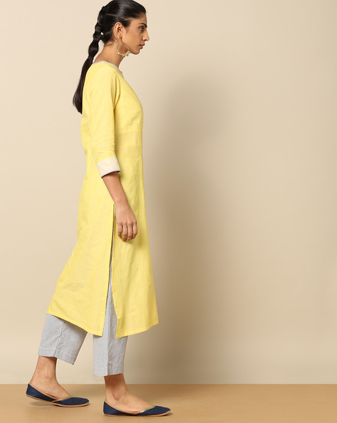 Mangalgiri Cotton Kurta With Boat Neck Cut-Out By Indian Dobby ( Yellow )