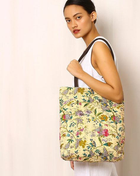 Cotton Printed Tote Bag With Kantha Embroidery By Molcha ( Beige )