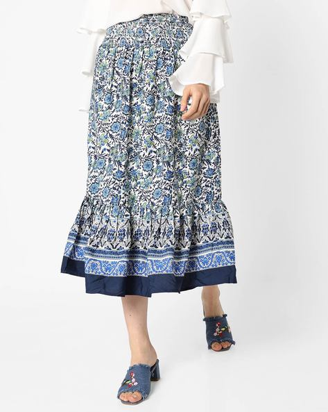 Floral A-Line Skirt With Ruffled Panel By Oxolloxo ( Multicolor )