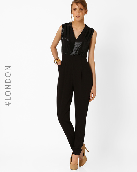 Sequinned Jumpsuit With Pockets By Closet London ( Black )