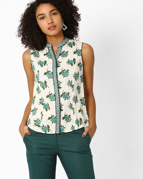 Floral Print Top With Embroidery By AJIO ( Offwhite )