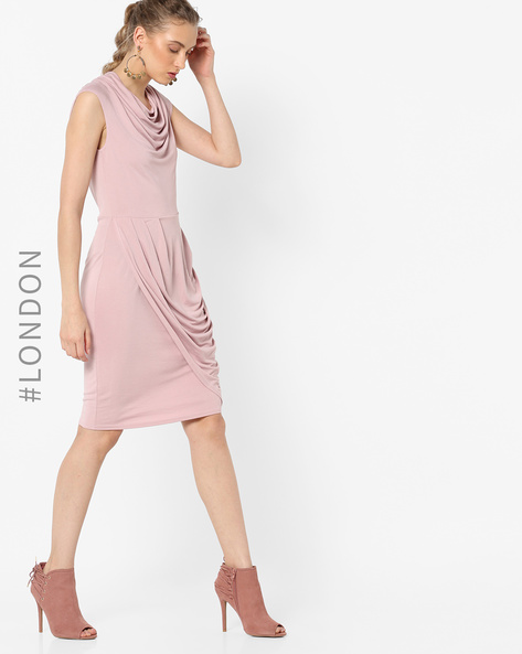 Cowl-Neck Sheath Dress By Closet London ( Pink )