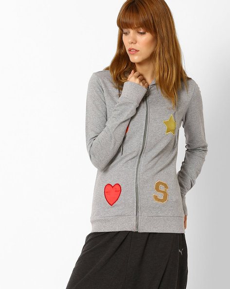 Hooded Fleece Jacket By Style Quotient By Noi ( Grey )