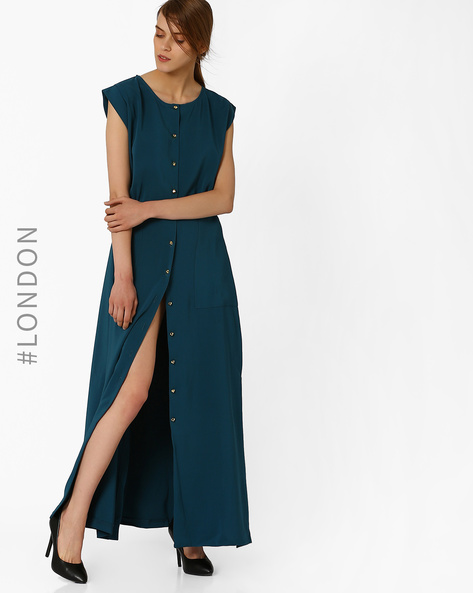Button-Down Maxi Dress With Slits By Closet London ( Teal )