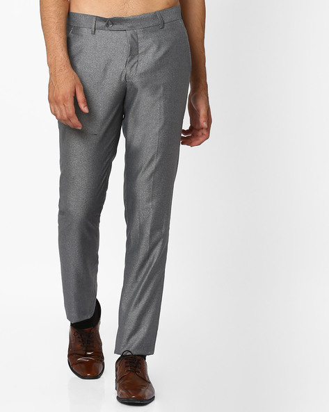 Slim Fit Flat-Front Trousers By British Club ( Lightgrey )