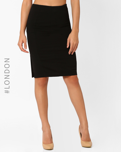 Pencil Skirt With Side Slit By Marks & Spencer ( Black )