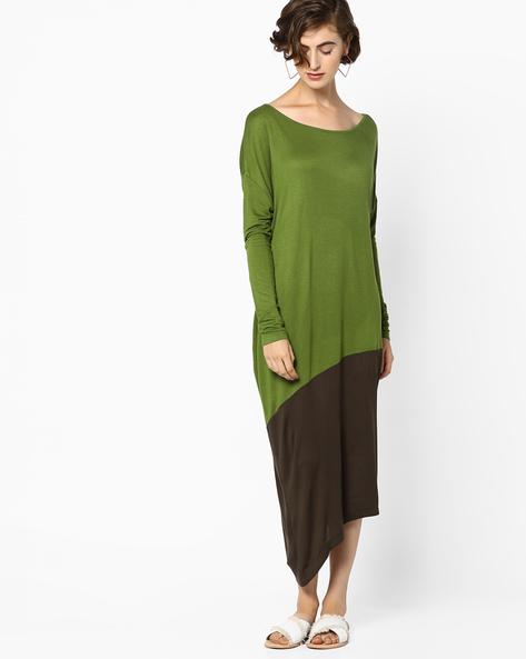 Colourblock Dress With Asymmetric Hemline By AJIO ( Olive )