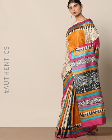 Handloom Pure Silk Tussar Ghicha Printed Saree By Indie Picks ( Multi )