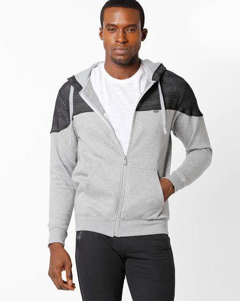 Regular Fit Colourblock Zip-Front Hoodie By NETPLAY ( Greymelange )