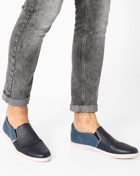 Faux-Leather Casual Slip-Ons By USPA ( Navy )