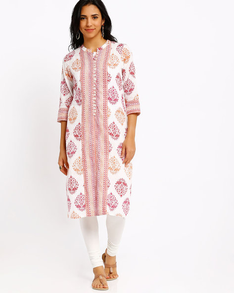 Printed Mandarin Collar Kurta By AVAASA MIX N' MATCH ( Pink )